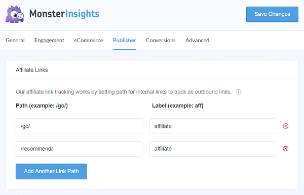 MonsterInsights tracking