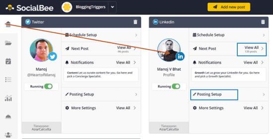 manage linkedin posts socialbee