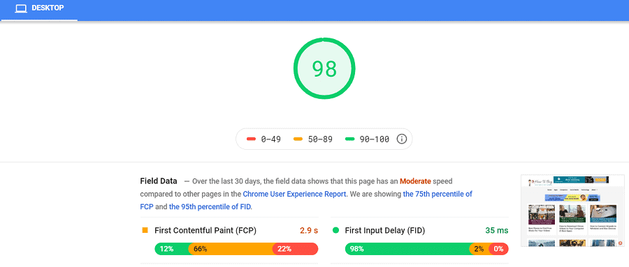 Google page speed after generatepress