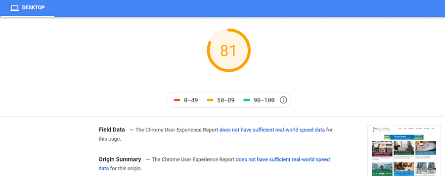 Google page speed before generatepress