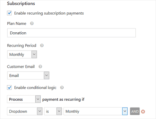 enable recurring payments WPForms