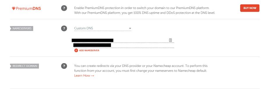 Namecheap custom name servers
