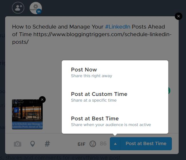 Crowdfire schedule linkedin posts