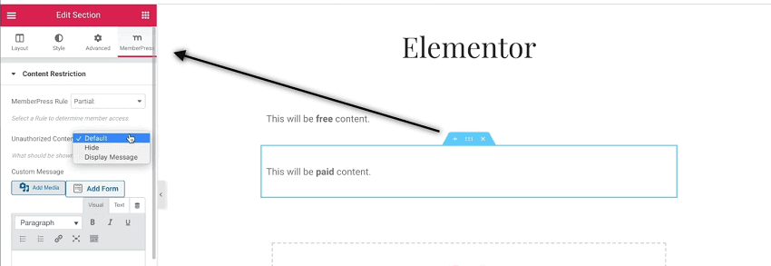 Elementor MemberPress