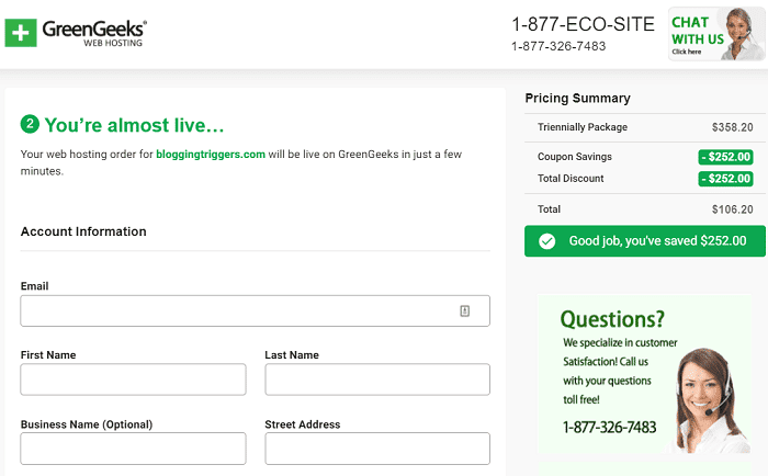 GreenGeeks registration