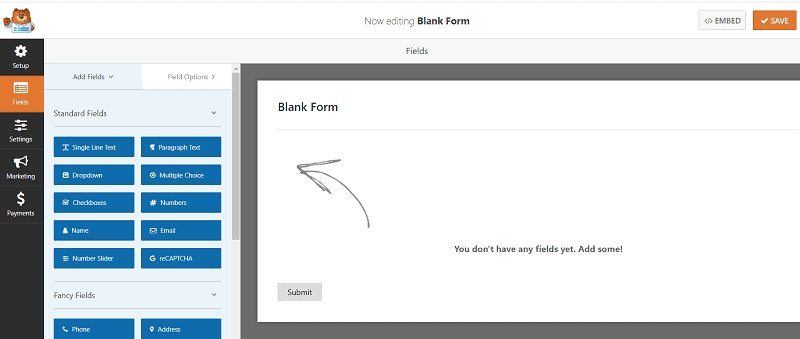 Create a form wpforms