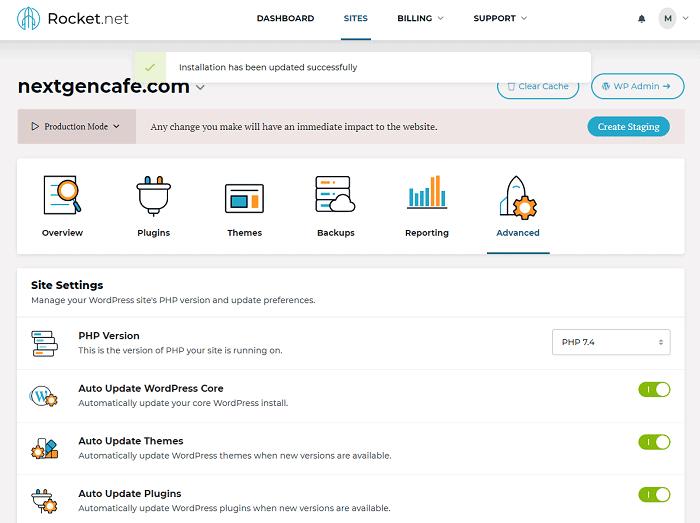 Rocket hosting dashboard